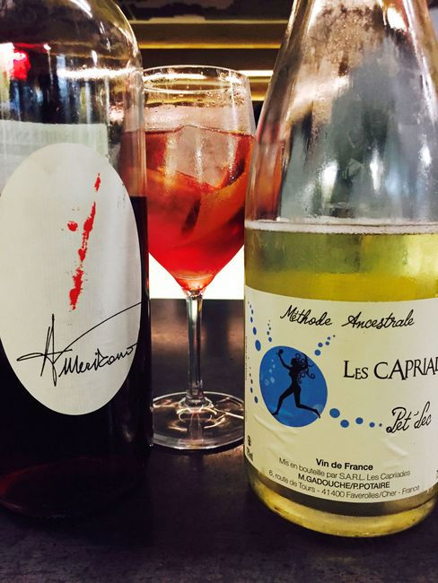 At Wildair, Jorge Riera's fizzy, magenta-hued refresher is constructed by topping off Vergano Americano (a fortified wine similar to Punt e Mes) with a pour from a magnum of Les Capriades Pét Sec, a pét-nat from the Loire Valley.