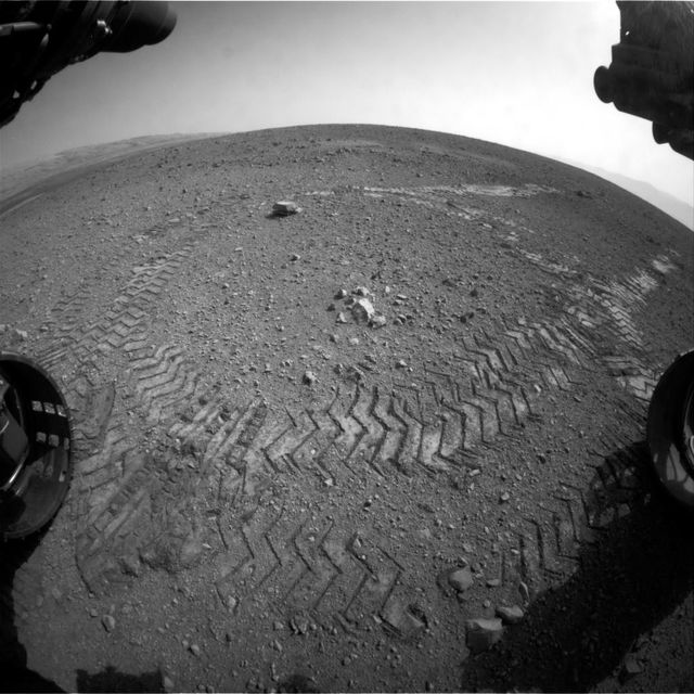 What survived the trip?Tracks from NASA's Curiosity Mars rover are seen Aug.22, 2012 on Mars. Source: NASA/JPL-Caltech via Getty Images