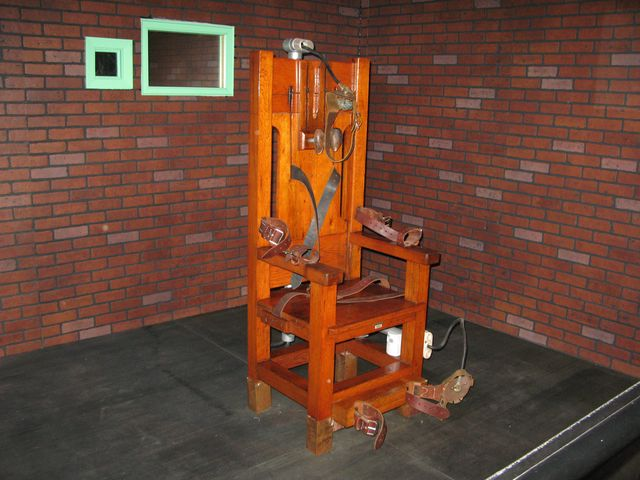 """""""OldSparky,"""" the decommissioned electric chair in which 361 prisoners were executed from 1924 to 1964.Photographer: Fanny Carrier/AFP/Getty Images"""