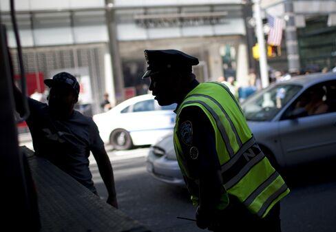 New York Police Stop Trucks in Midtown