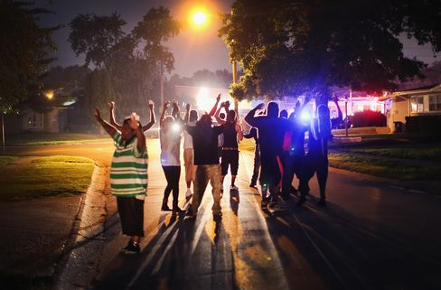 Residents Gather Following Protests in Ferguson