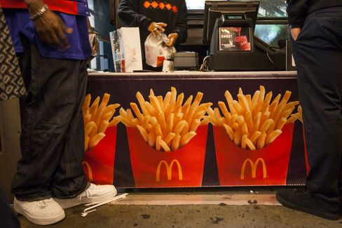 Customers Order at a McDonald's Corp. Restaurant in New York