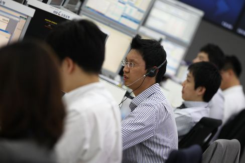 Traders at Korea Exchange Bank
