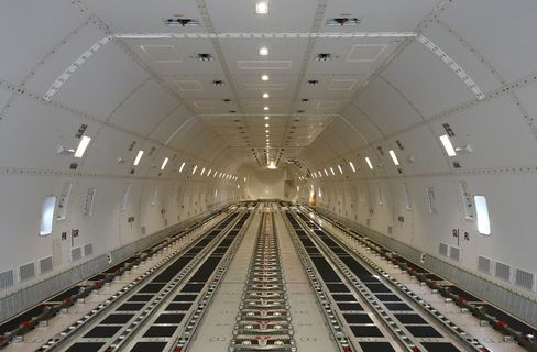 The Main Cargo Hold of a Boeing Co. 747-8 Freighter