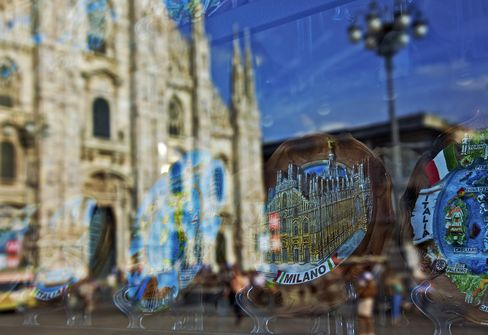Milan Cathedral is Reflected in a Store Window