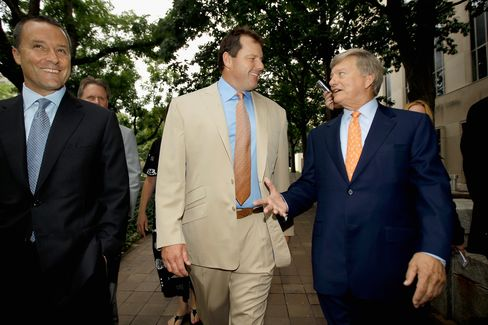 Former all-star baseball pitcher Roger Clemens (C) and his attorney Rusty Hardin (R) arrive at the U.S. District Court after the jury announced it had reached a verdict in Clemens' perjury and obstruction trial, Monday, June 18, 2012 in Washington, DC. The jury found Clemens not guilty on all counts. Photographer: Chip Somodevilla/Getty Images