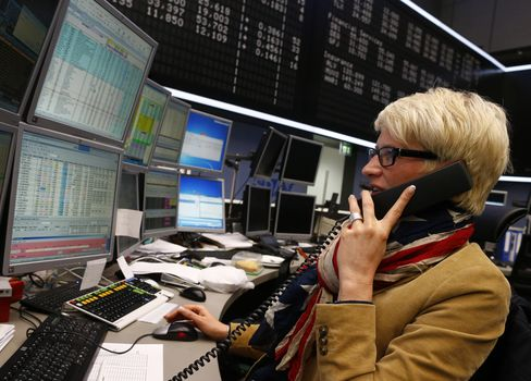 A Trader Works at the Frankfurt Stock Exchange