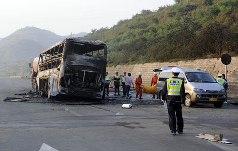 Passenger Bus Collides With Truck Loaded With Gas