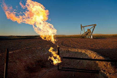 Natural gas is flared in South Heart, North Dakota