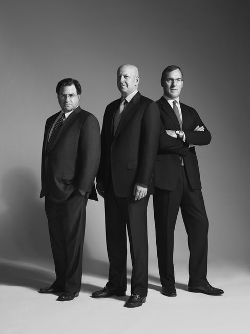 Co-heads of Goldman Sachs's investment bank, from left: John Weinberg, David Solomon and Richard Gnodde.  Photographer: Alan Clarke/Bloomberg Markets