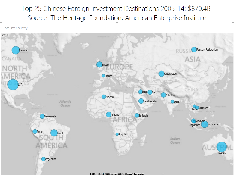 To 25 Chinese Foreign Investment Destinations 2004-14