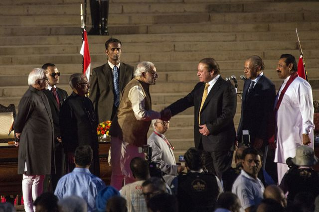 Could this moment between Narendra Modi and Nawaz Sharif be the start of big things?Photographer: Udit Kulshrestha/Bloomberg