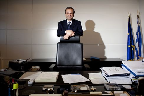 Antonis Samaras, leader of Greece's main opposition New Democracy party. Photographer: Nikos Pilos/Bloomberg