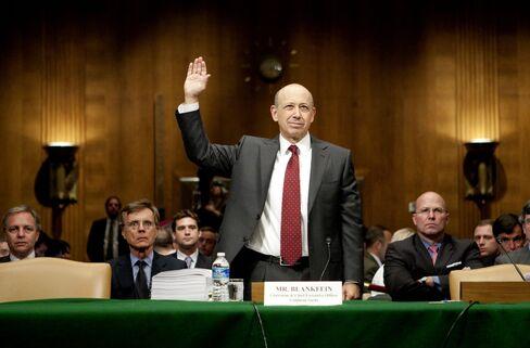 Lloyd Blankfein, chairman of Goldman Sachs, is sworn in