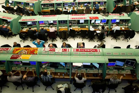 Traders Work Inside the Borsa Istanbul