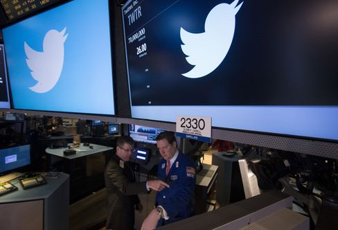 Twitter Inc. Logo Sits in the New York Stock Exchange