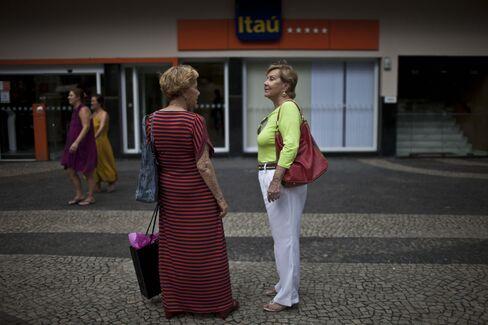 Women Talk in front of an Itau Branch in Rio de Janeiro