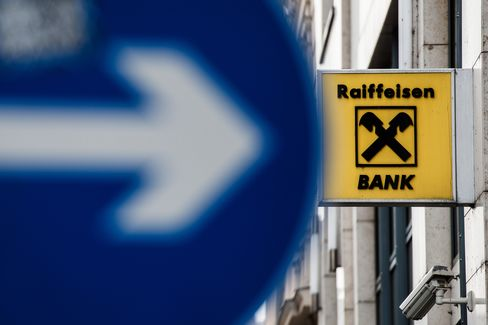 A Logo Sits Outside Raiffeisen Bank International in Budapest