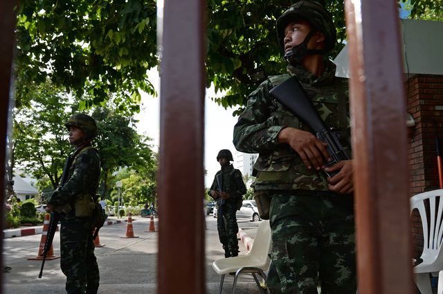 Thai soldiers after martial law was imposed in Bangkok. Photographer: Christophe Archambault/AFP/Getty Images