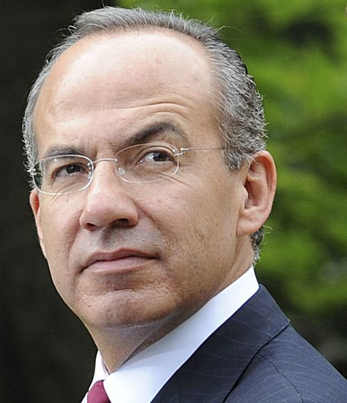 Mexican President Felipe Calderon vowed to crush the drug cartels when he took office in December 2006. Photographer: Tim Sloan/AFP/Getty Images