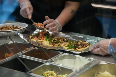 Employees Work at a Chipotle Mexican Grill Restaurant