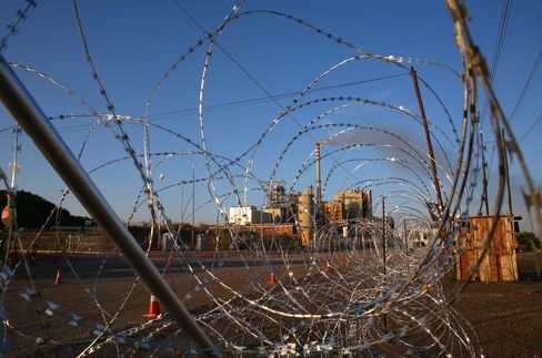 Barbed Wire Outside A Platinum Mine In Marikana