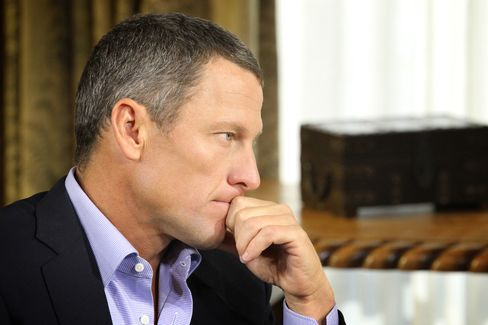 Lance Armstrong is seen in an interview with Oprah Winfrey (not pictured) in this handout photo in Austin, Texas on Jan. 14, 2013. Photographer: George Burns/Oprah Winfrey Network via Getty Images