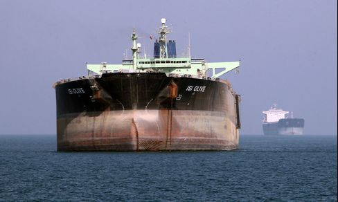 An Oil Tanker is seen near the Port of Bandar Abbas