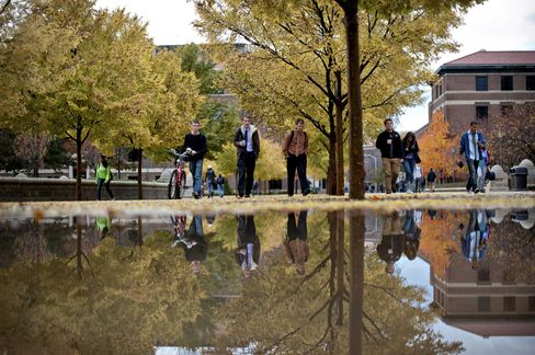 Students Walk in a Campus at a U.S. University