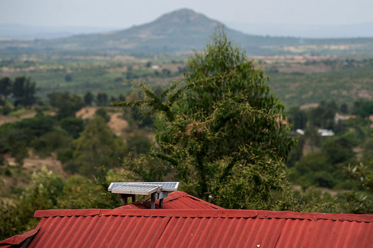 Solar panels on the roof of a home powered by M-Kopa solar technology in Ndela village, Machakos county, in Kenya.