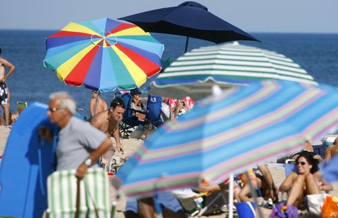 Beachgoers in East Hampton, NY