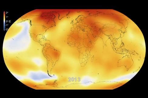 This visualization shows how global temperatures have risen from 1950 through the end of 2013, published on Jan 21, 2014. Photographer: NASA Goddard