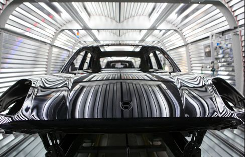 A Porsche Macan Vehicle Sits on the Production Line