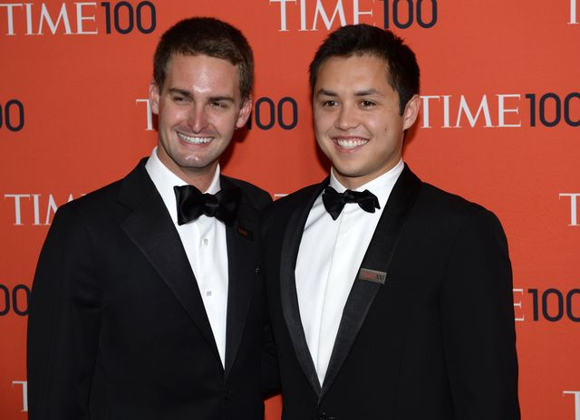 Snapchat co-founders Evan Spiegel and Bobby Murphy. Photographer: Timothy A. Clary/AFP/Getty Images
