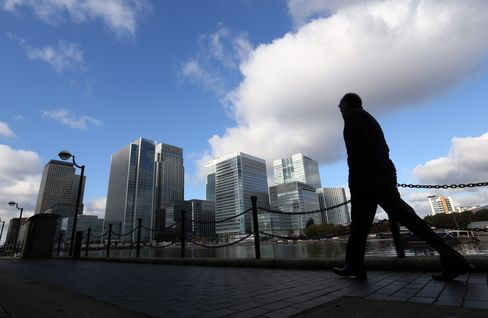 A Pedestrian Passes Bank Headquarters in London