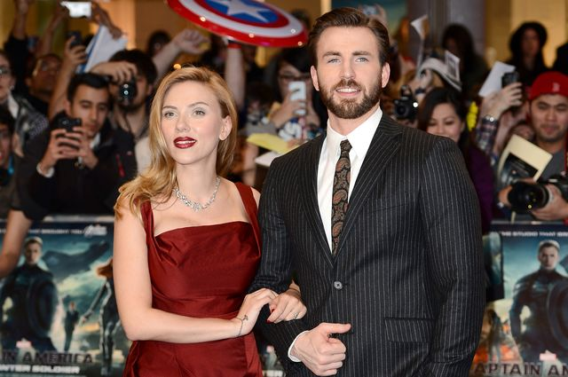 "Scarlett Johansson and Chris Evans paired up for the latest cinematic installment of ""Capitain America."" Photographer: Ian Gavan/Getty Images"