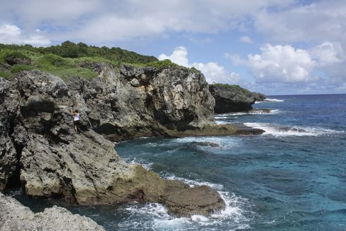 The cliffs overlooking the Pacific Ocean of Pagat, Guam
