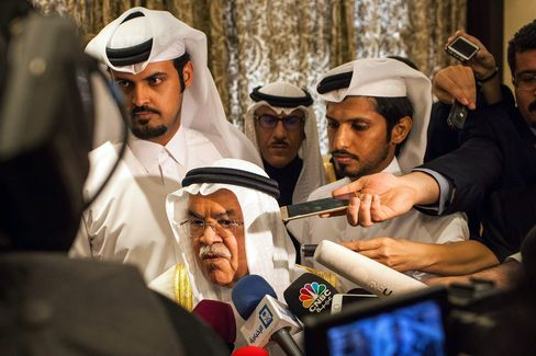 Saudi Arabia's minister of Oil and Mineral Resources Ali al-Naimi speaks to the press ahead of a meeting on Feb. 16, 2016 in Doha.