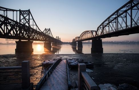 Yalu River in Dandong, a Chinese town across North Korea