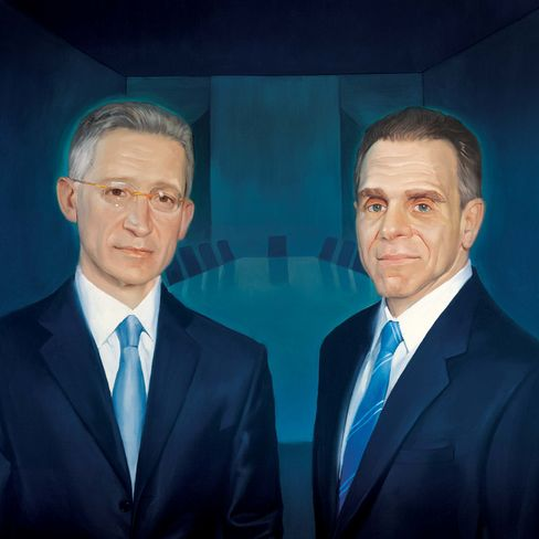 An illustration showing Joshua Friedman, left, and Mitchell Julis, founders of Canyon Partners LLC, a $19 billion hedge fund based in Los Angeles, California. Illustration: Roberto Parada/Bloomberg Markets via Bloomberg