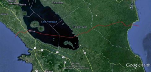 A Google earth map presented by HKND Group shows — in red — where the canal will cut through Nicaragua.
