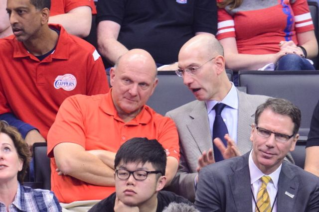 Steve Ballmer's new day job. Ballmer and NBA Commissioner Adam Silver at an Oklahoma City Thunder-Los Angeles Clippers playoff game.