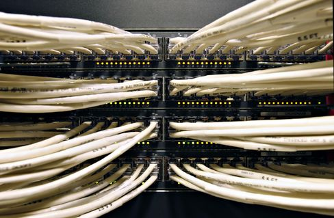 Cables Run into a Cisco Systems Network Data Switch