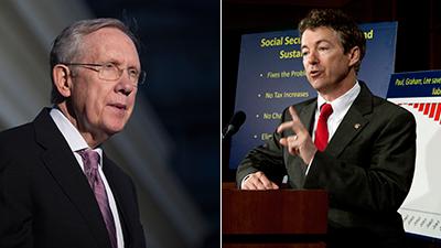 U.S. senators Harry Reid (left) and Ron Paul
