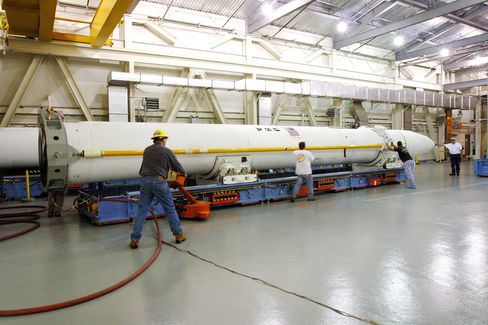 A Ground-based Interceptor missile is shown before being installed in its silo at Fort Greely, Alaska. Photographer: Missile Defense Agency/AP