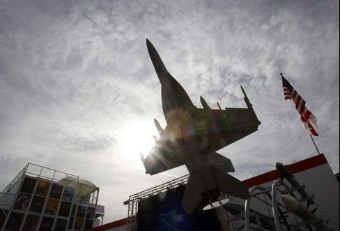 A Model of a Raytheon Co. Fighter Jet is seen in Farnborough