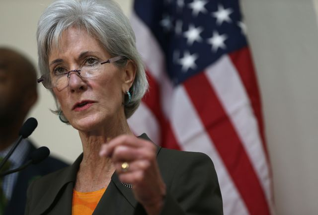Kathleen Sebelius, take a bow. Photographer: Joe Raedle/Getty Images