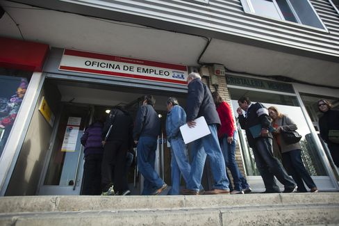 Jobseekers Enter an Employment Office after Opening in Madrid