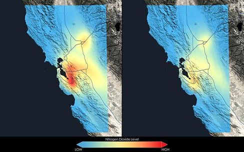 These images show how nitrogen dioxide in the San Francisco Bay area changed between the 2005-2007 (left) and 2009-2011 (right) periods. Source: NASA Goddard's Scientific Visualization Studio