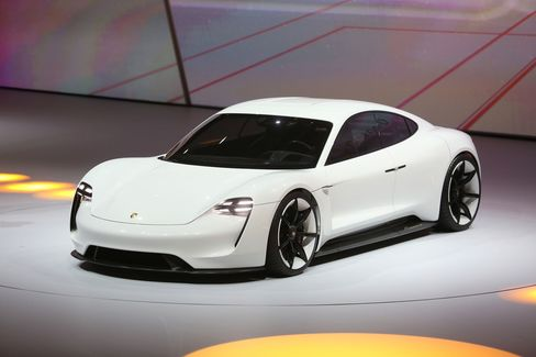 The Porsche Mission E Concept at the Frankfurt Motor Show in 2015.